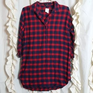 NWT Flannel buffalo pullover half button up tunic